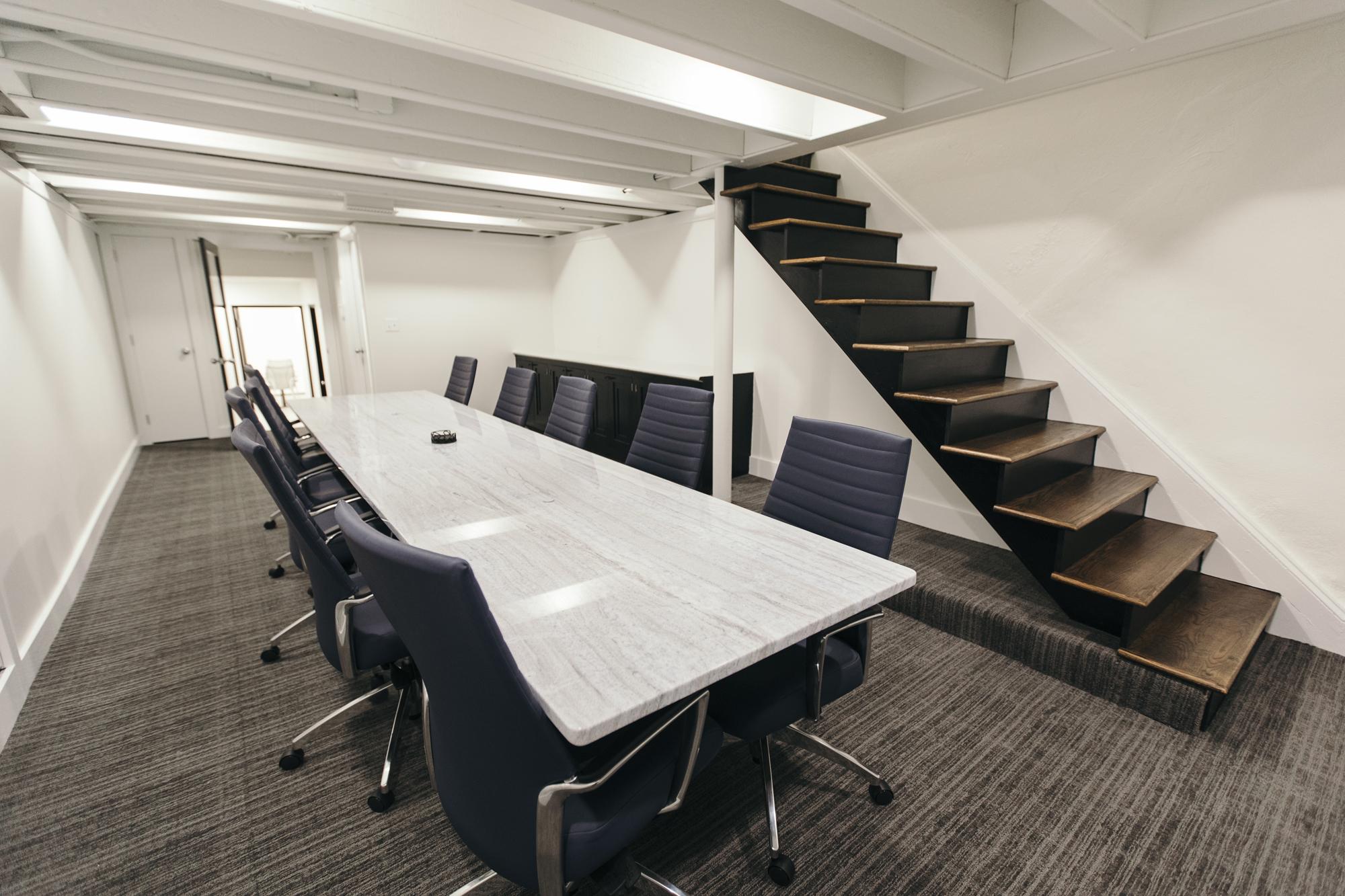 long quartz conference room table