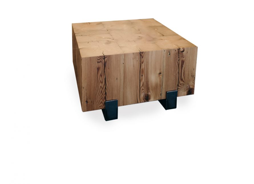 wooden block coffee table