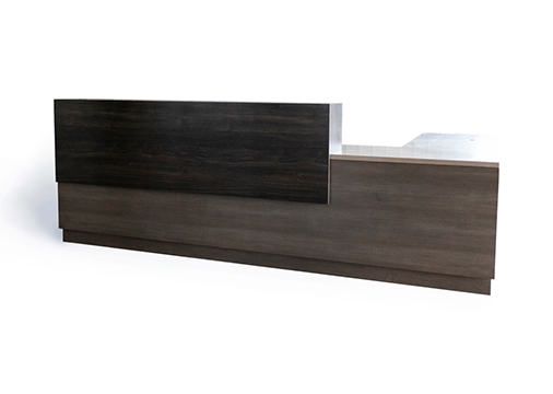 custom dark wood reception desk
