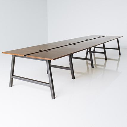 long wood board room table