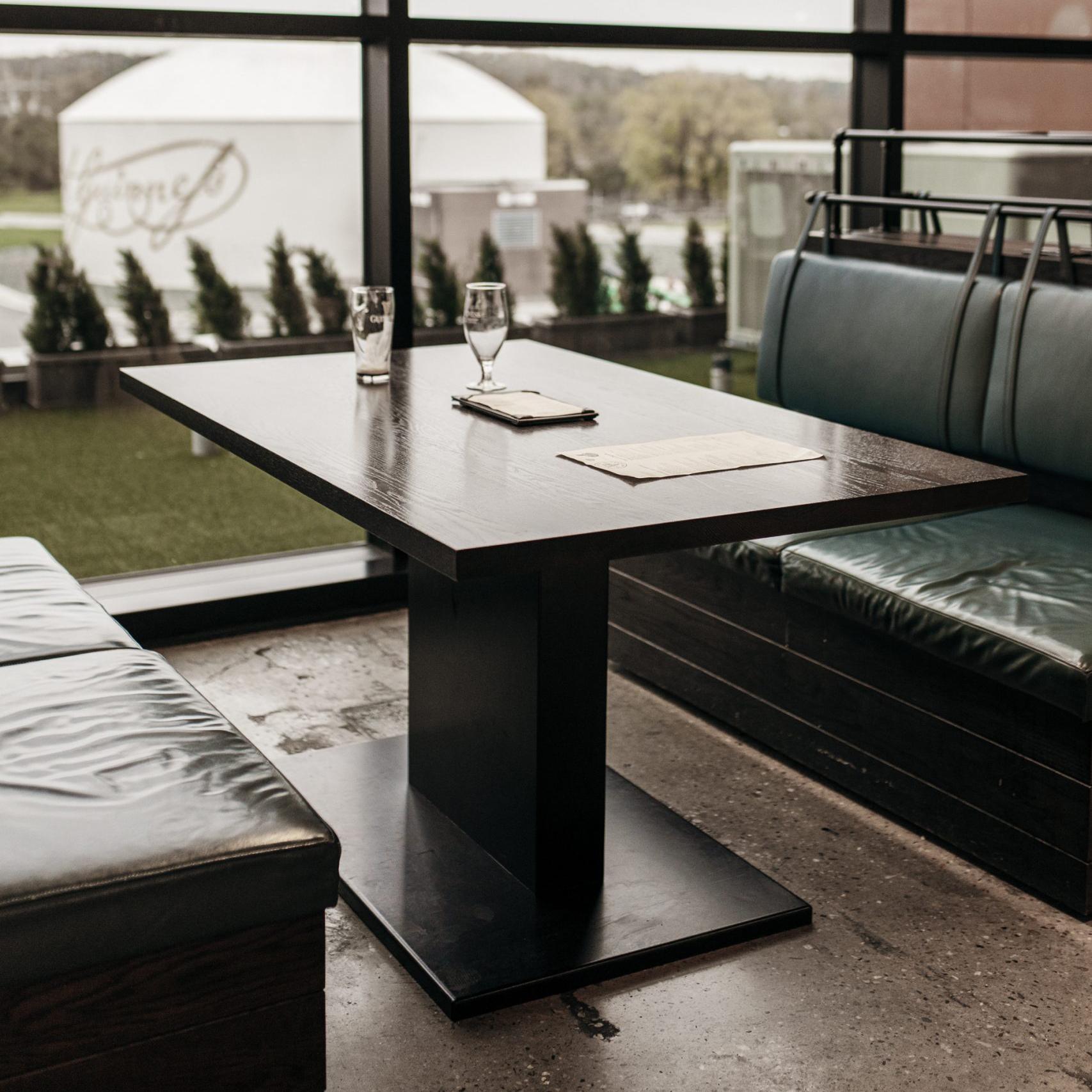 dark wood booth table