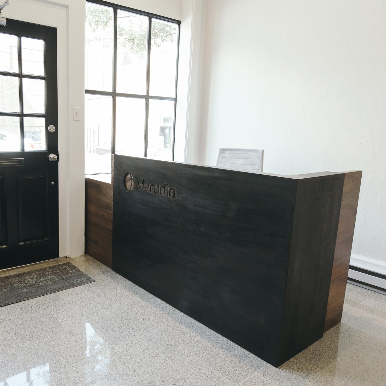 custom wood reception desk
