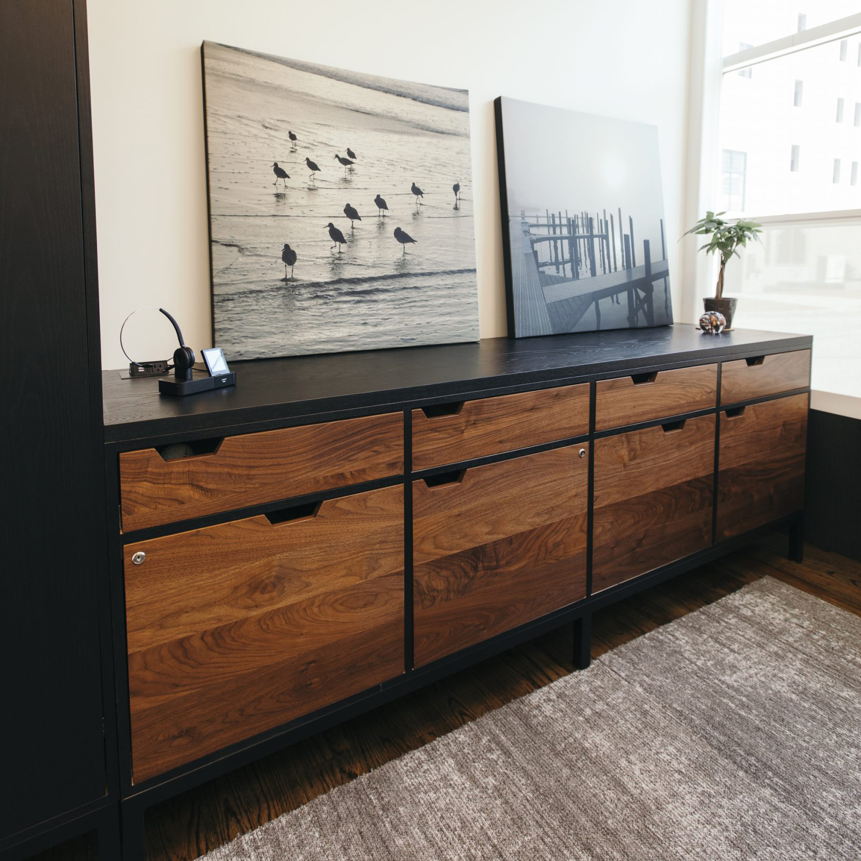 wooden meeting room table drawers