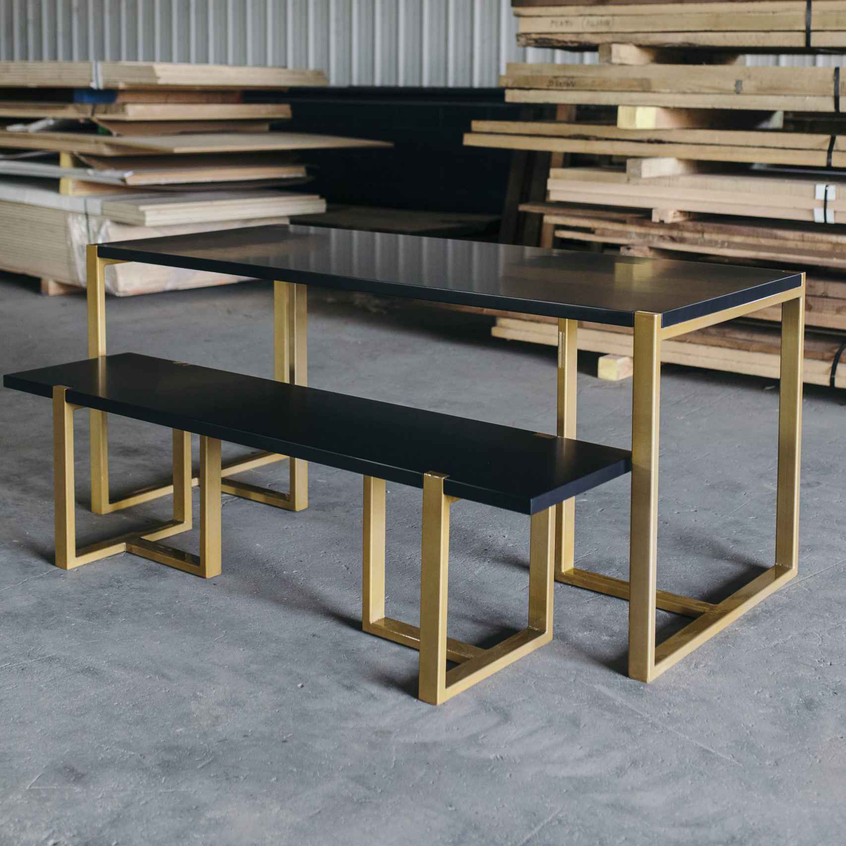 black bench and table