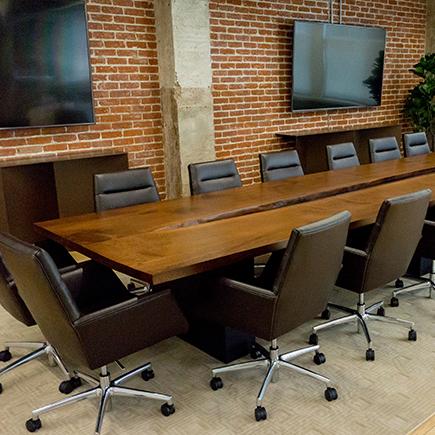 natural wood board room table