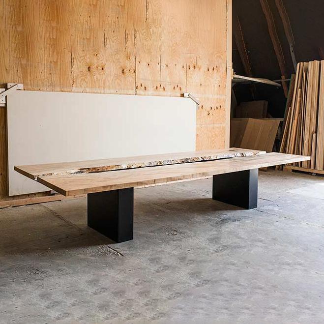 raw wood custom meeting table