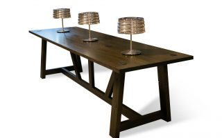 dark brown wood meeting room table