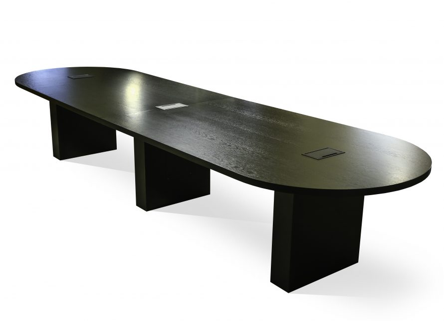 black dark wood board room table