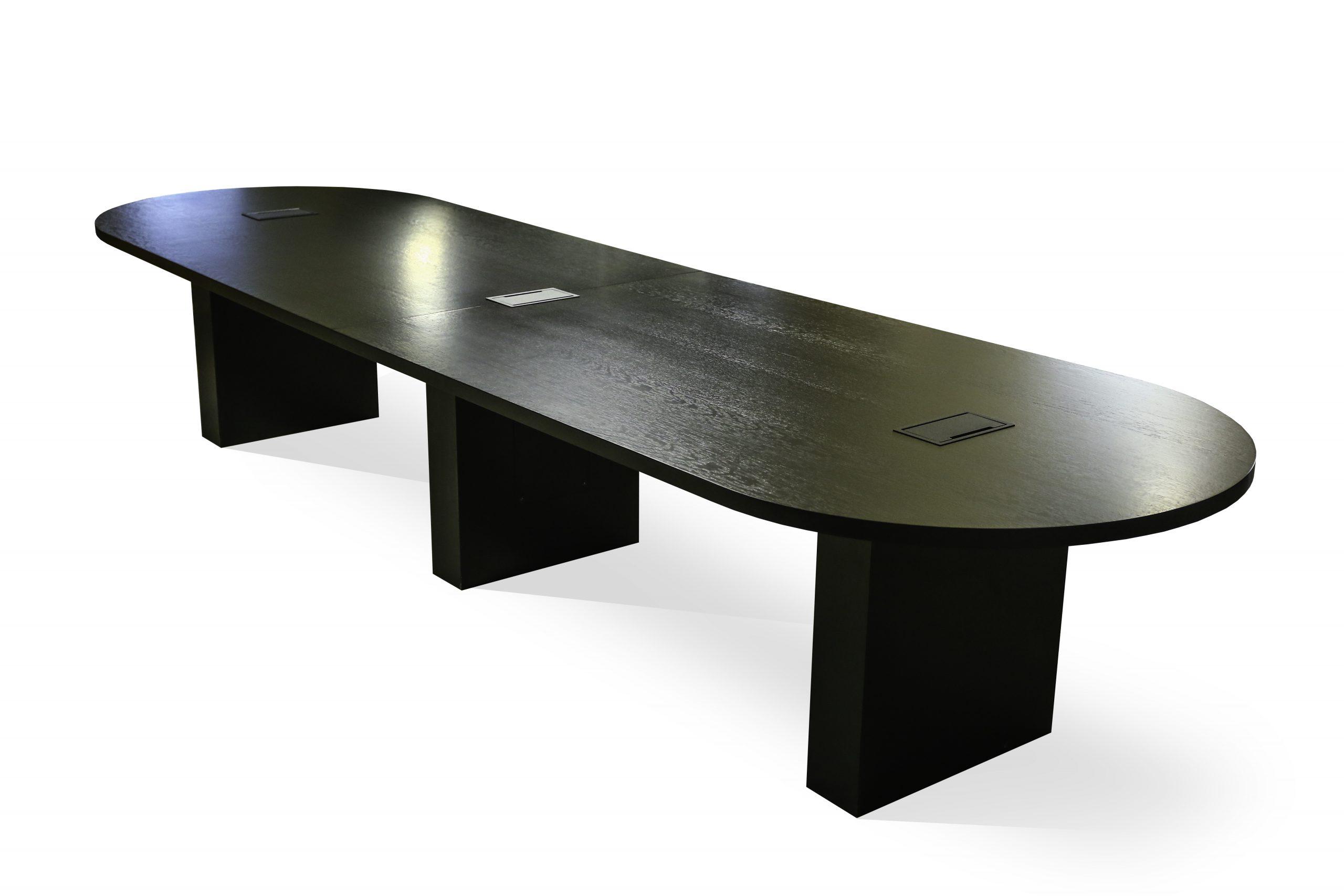 black dark wood board room table